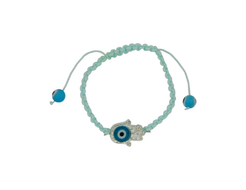 Light Blue Evil Eye Hamsa Hand Bracelet