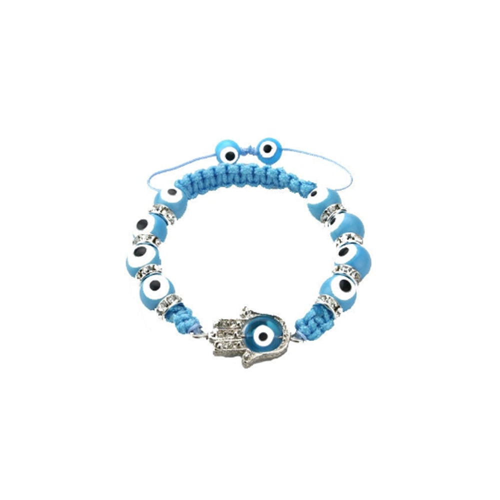 Blue Evil Eye Hamsa Hand Glass Bracelet