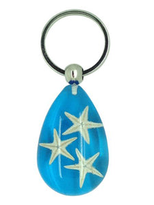 Lucky Real Starfish Blue Healing Keyring Keychain