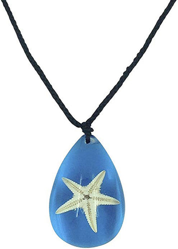 Lucky Real Starfish Blue Healing Pendant Necklace