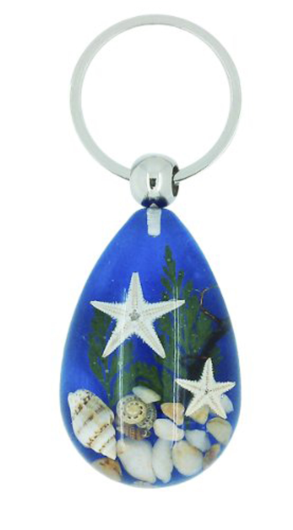 Lucky Real Starfish and Shells Blue Healing Keyring Keychain