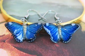 Blue Butterfly Porcelain Earrings