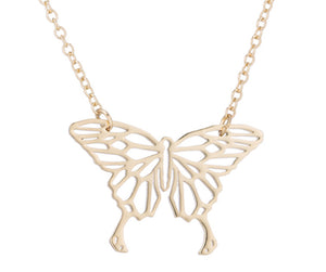 Rose Gold, Gold and Silver Plated Lucky Butterfly Origami Pendant Necklace