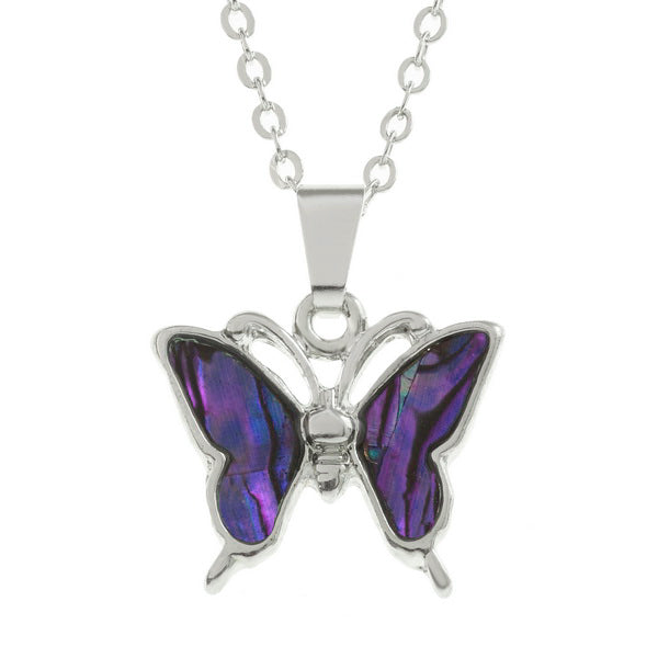 Lucky Genuine Paua Shell Butterfly Pendant Necklace