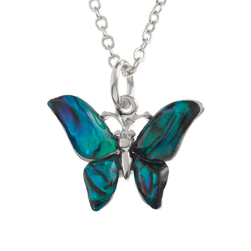 Lucky Genuine Paua Shell Blue Butterfly Pendant Necklace