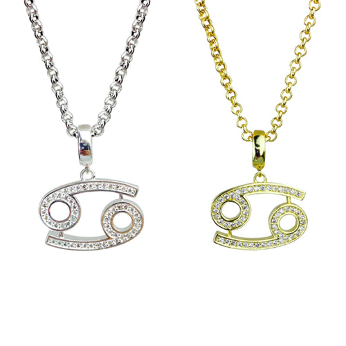 Gold & Silver Plated Cancer Horoscope Zodiac Czech Crystal Pendant Necklace