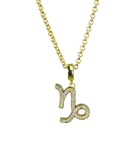 Gold Plated Capricorn Horoscope Zodiac Czech Crystal Pendant Necklace