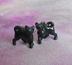 Black Cat Kitten Porcelain Earrings