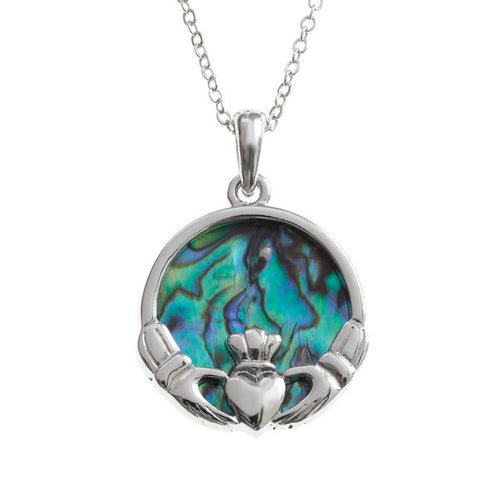 Lucky Paua Shell Celtic Claddagh Pendant Necklace