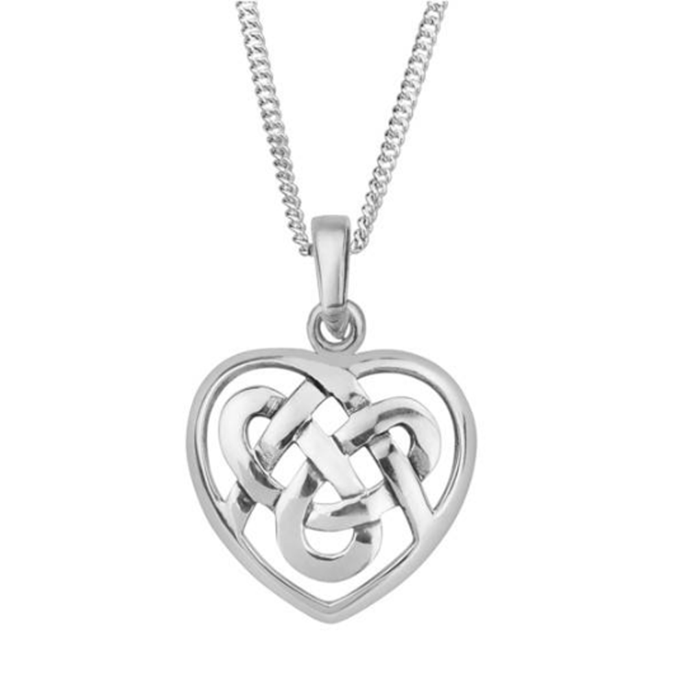 Celtic Heart Knot Solid 925 Sterling Silver Pendant Necklace