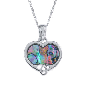 Lucky Paua Shell Celtic Heart Pendant Necklace