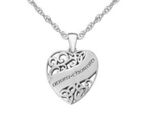 Celtic Love Heart Soulmate Solid 925 Sterling Silver Pendant Necklace