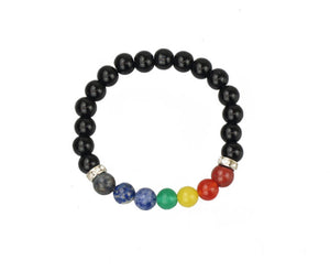 Chakra Power Crystal Bracelet in Black With Real Gemstones