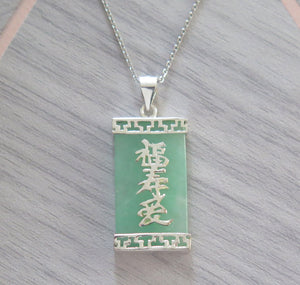 Lucky Genuine Grade A Jade 925 Sterling Silver Good Luck Pendant