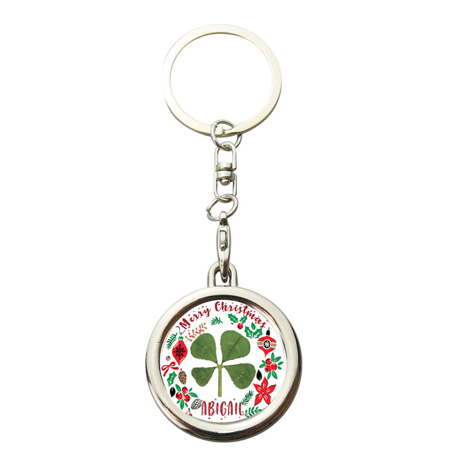 Lucky Real Four Leaf Clover Personalised Christmas Keyring Keychain
