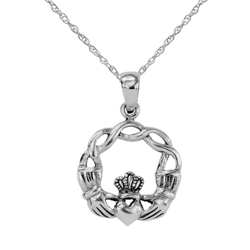 Celtic Claddagh Solid 925 Sterling Silver Pendant Necklace