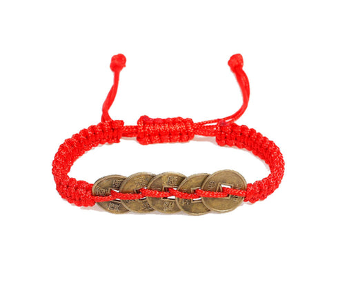 Lucky Chinese Coins Red Kabbalah Adjustable Bracelet