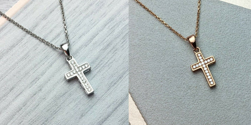 Solid 925 Sterling Silver or Rose Gold Christian Faith Jesus Cross Pendant Necklace