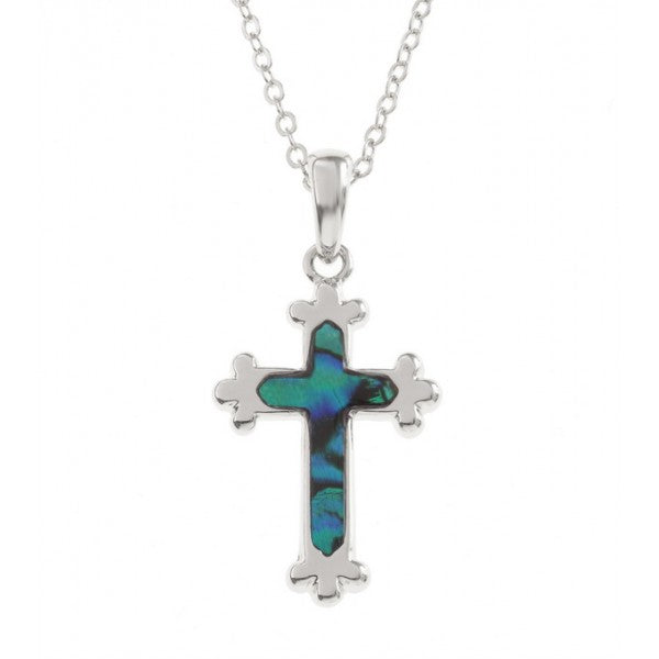 Lucky Paua Shell Christian Cross Pendant Necklace