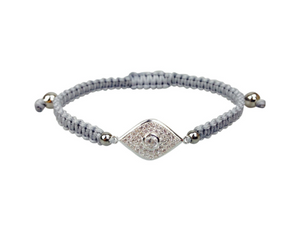 Grey Evil Eye Czech Crystal Bracelet