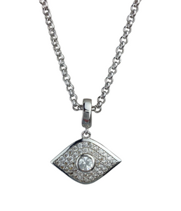 Silver Plated Czech Crystal Evil Eye Pendant Necklace