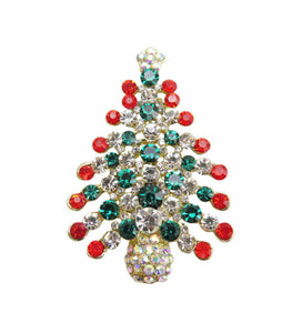 Crystal Christmas Tree Brooch