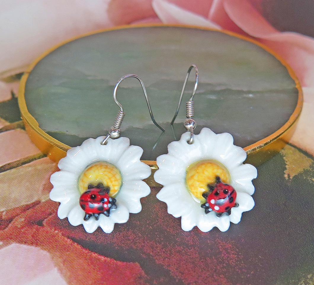 Ladybird Daisy Flower Porcelain Earrings