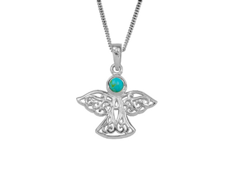 Sterling Silver Celtic Lucky December Angel Birthstone Pendant Necklace
