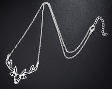 Load image into Gallery viewer, Gold and Silver Plated Deer Stag Origami Pendant Necklace