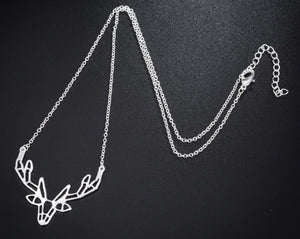 Gold and Silver Plated Deer Stag Origami Pendant Necklace