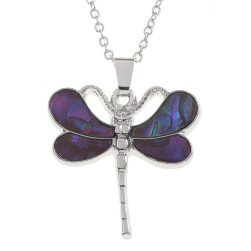 Lucky Genuine Paua Shell Dragonfly Pendant Necklace