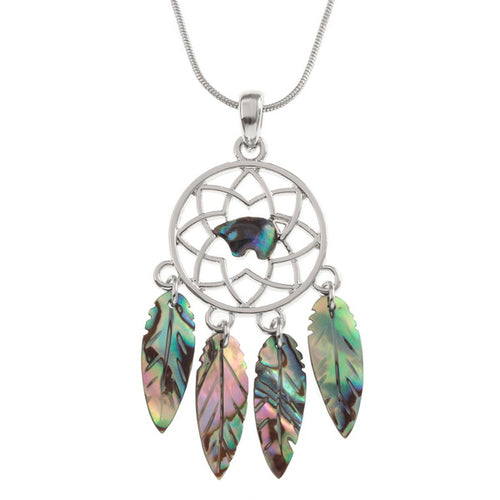 Lucky Genuine Paua Shell Dream Catcher Pendant Necklace