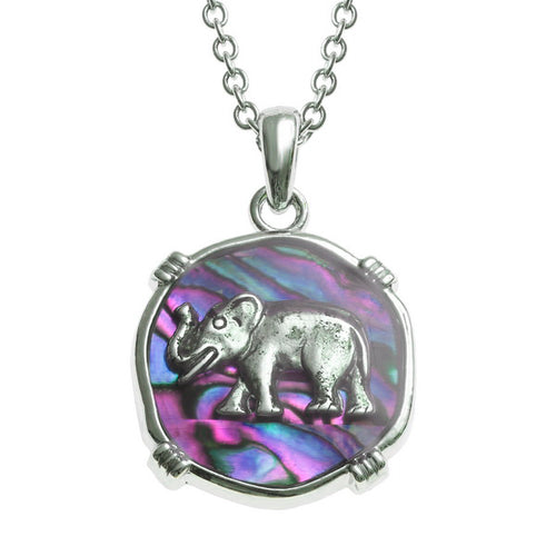 Lucky Genuine Paua Shell Elephant Pendant Necklace