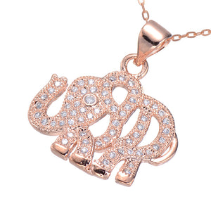 Rose Gold, Gold and Silver Plated Crystal Elephant Pendant Necklace