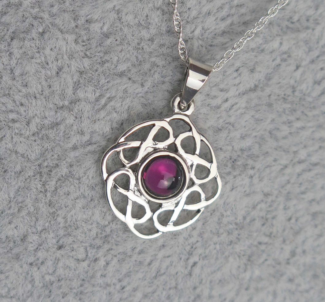 Sterling Silver Celtic Knot February Birthstone Pendant