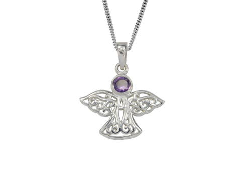 Sterling Silver Celtic Lucky February Angel Birthstone Pendant Necklace