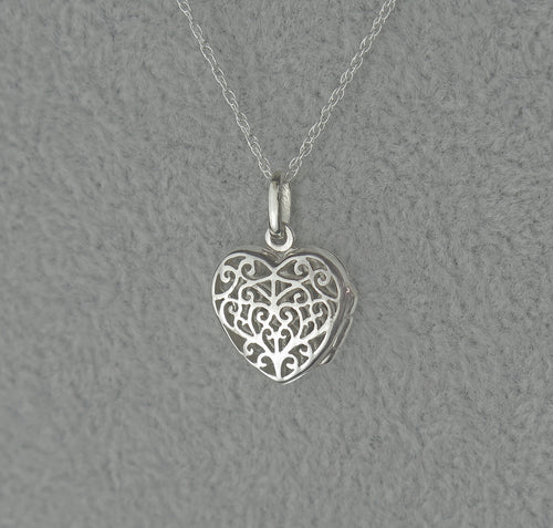 Solid 925 Sterling Silver Filigree Heart Keepsake Locket