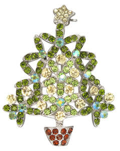 Crystal Flower Christmas Tree Brooch