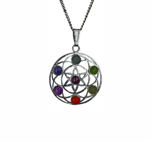 Flower Of Life Spiritual Chakra Pendant With Real Gemstones