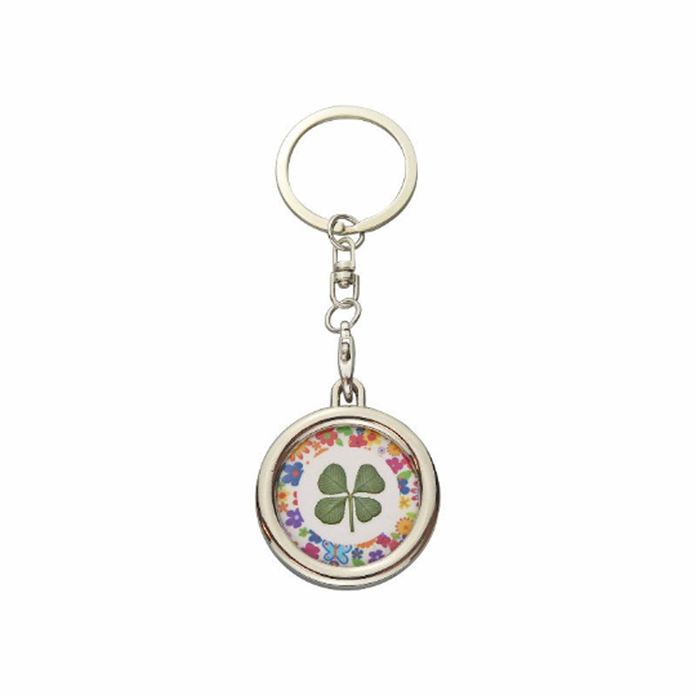 Lucky Real Four Leaf Clover Flowers Keyring Keychain