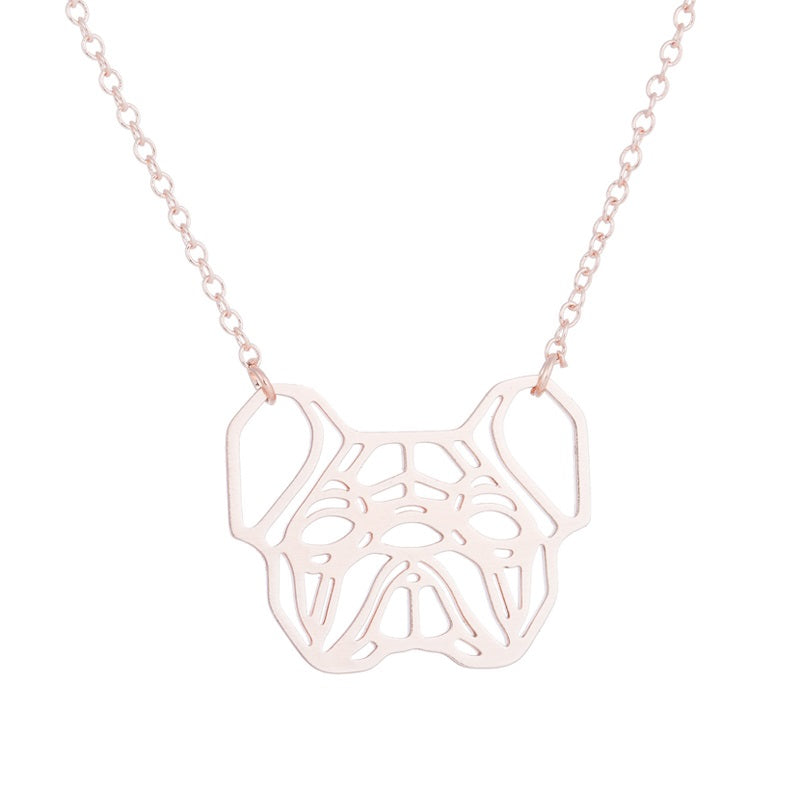 Rose Gold, Gold and Silver Plated French Bulldog Origami Pendant Necklace