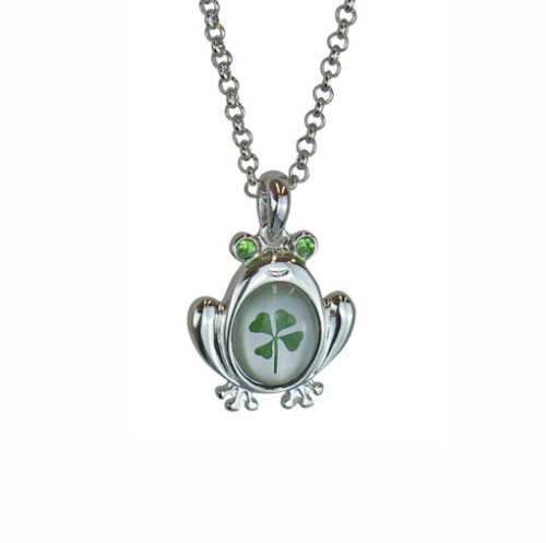 Lucky Real Four Leaf Clover Frog Pendant Necklace