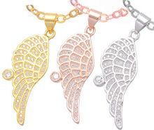 Load image into Gallery viewer, Gold, Silver and Rose Gold Plated Crystal Guardian Angel Wing Necklace Pendant