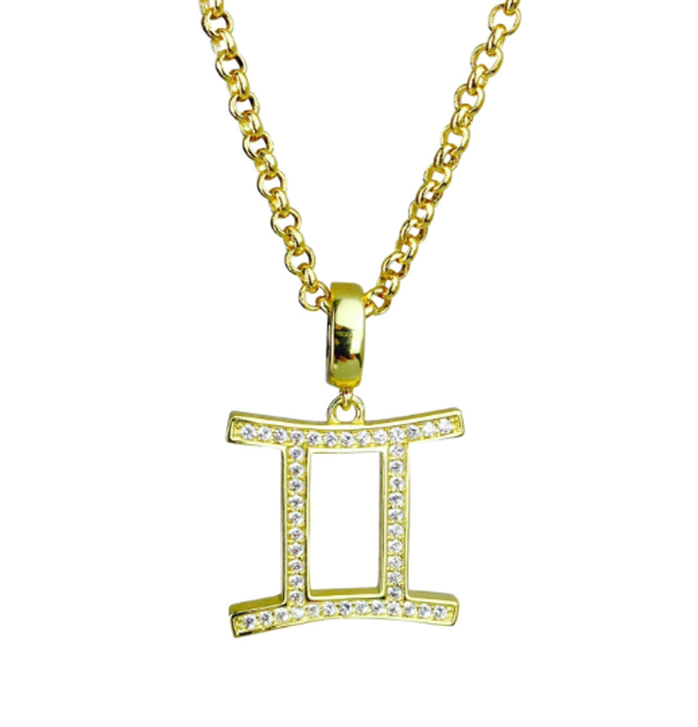 Gold & Silver Plated Gemini Horoscope Zodiac Czech Crystal Pendant Necklace