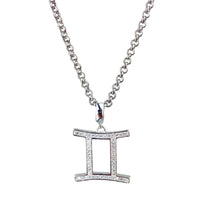 Load image into Gallery viewer, Gold & Silver Plated Gemini Horoscope Zodiac Czech Crystal Pendant Necklace