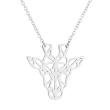 Load image into Gallery viewer, Rose Gold, Gold and Silver Plated Lucky Giraffe Origami Pendant Necklace