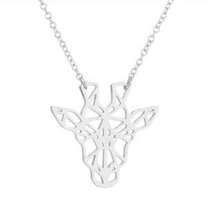 Rose Gold, Gold and Silver Plated Lucky Giraffe Origami Pendant Necklace