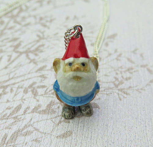 Lucky Gnome Porcelain Pendant Necklace