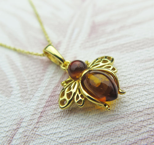 Solid 925 Sterling Silver Gold Plated Real Genuine Cognac Amber Lucky Bee Pendant Necklace