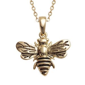 Lucky Golden Bumble Bee Pendant Necklace